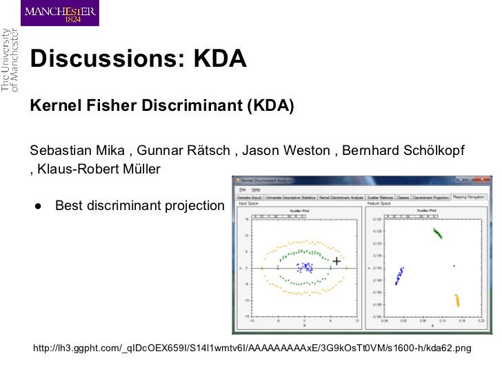 Discussions: KDAKernel Fisher Discriminant (KDA)Sebastian Mika , Gunnar Rätsch , Jason Weston , Bernhard Schölkopf, Klaus-...
