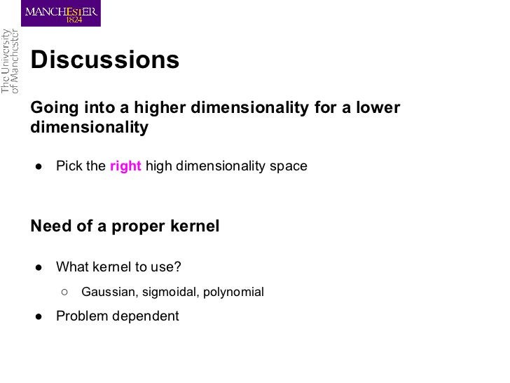 DiscussionsGoing into a higher dimensionality for a lowerdimensionality● Pick the right high dimensionality spaceNeed of a...