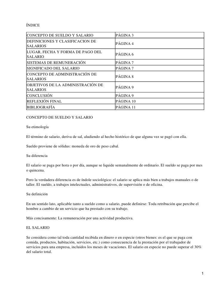 ÍNDICECONCEPTO DE SUELDO Y SALARIO                            PÁGINA 3DEFINICIONES Y CLASIFICACION DE                     ...