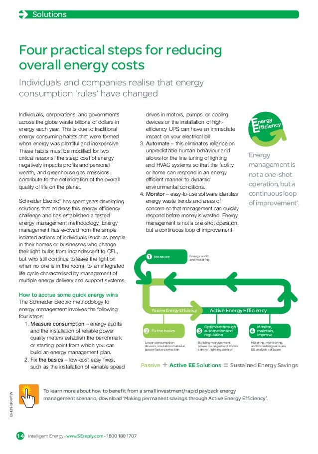 Solutions               Four practical steps for reducing               overall energy costs               Individuals and...