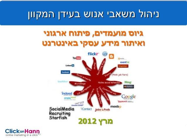 ניהול משאבי אנוש בעידן המקוון   גיוס מועמדים, פיתוח ארגוני   ואיתור מידע עסקי באינטרנט            מרץ 2102