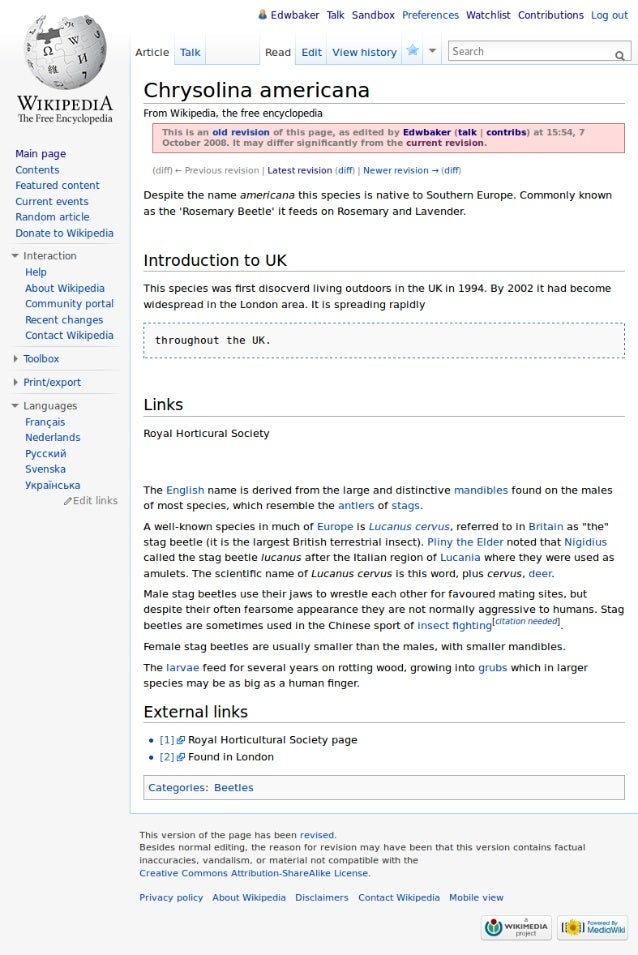 The story of a Wikipedia page