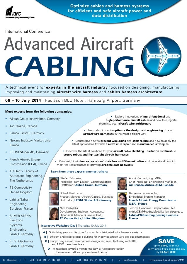 • Explore innovations of multi-functional and high-performance aircraft cables and how to integrate them into your aircra...