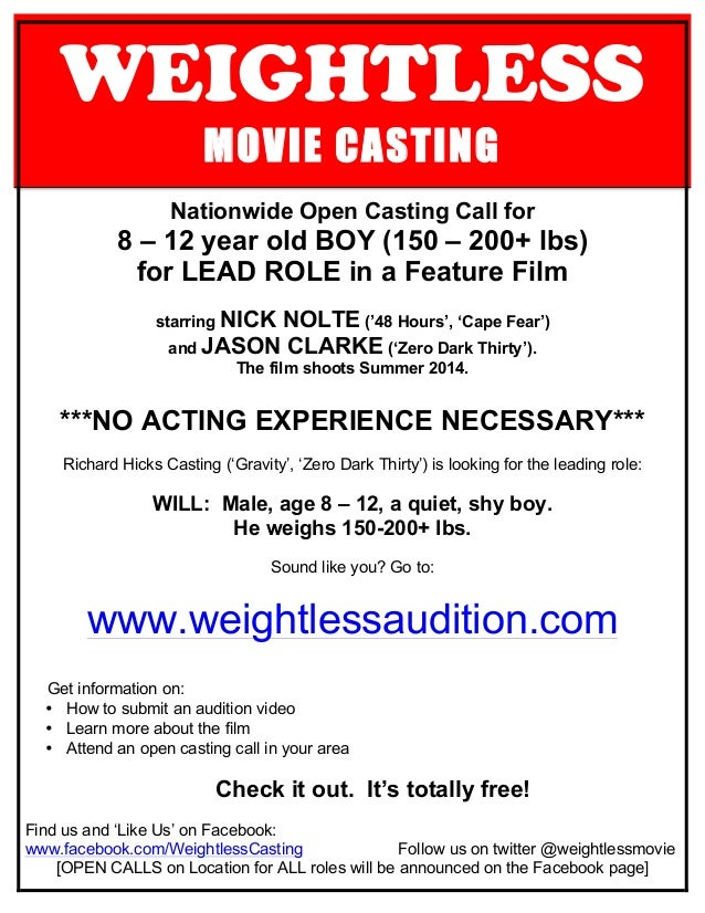WEIGHTLESS MOVIE CASTING Nationwide Open Casting Call for 8 – 12 year old BOY (150 – 200+ lbs) for LEAD ROLE in a Feature ...