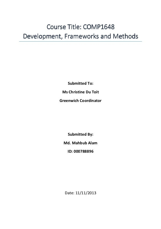 Course Title: COMP1648Course Title: COMP1648Course Title: COMP1648Course Title: COMP1648 Development, Frameworks and Metho...