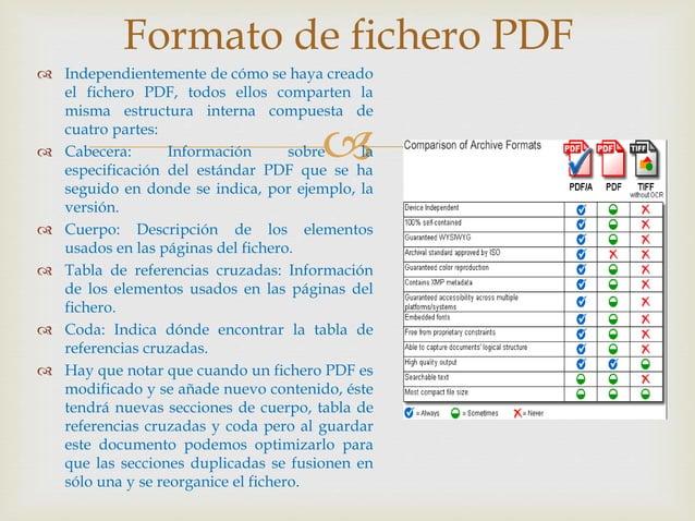   Independientemente de cómo se haya creado el fichero PDF, todos ellos comparten la misma estructura interna compuesta ...