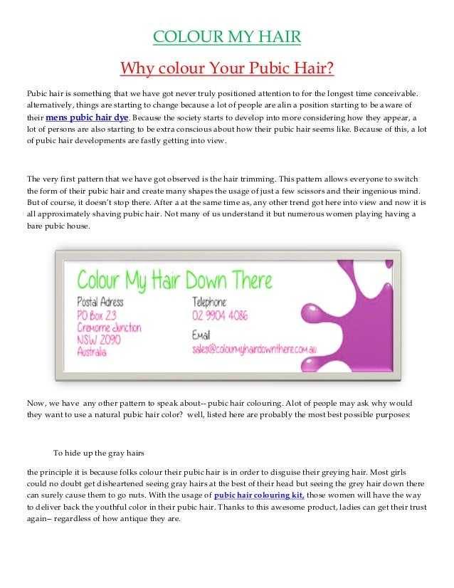 Why Colour Your Pubic Hair