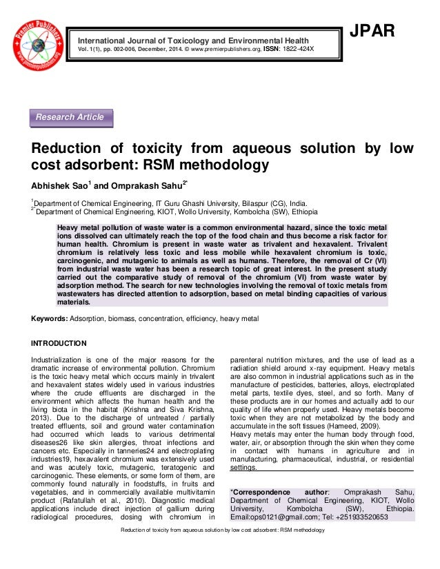 Reduction Of Toxicity From Aqueous Solution By Low Cost Adsorbent Rs