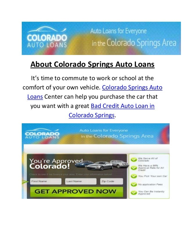 Bad Credit Auto Loan Center in Colorado Springs, CO