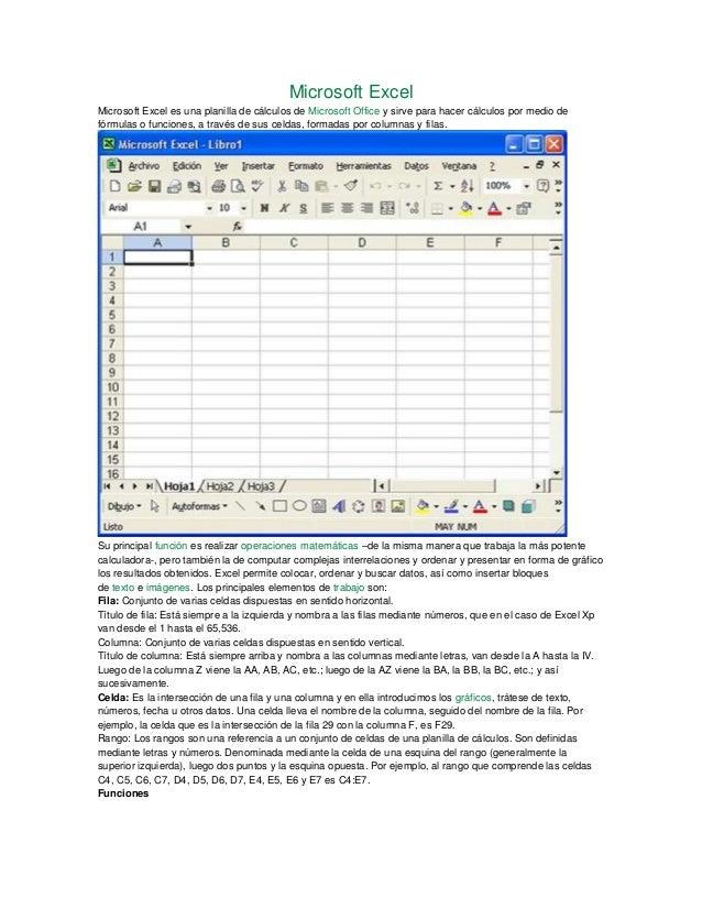 Microsoft Excel Microsoft Excel es una planilla de cálculos de Microsoft Office y sirve para hacer cálculos por medio de f...