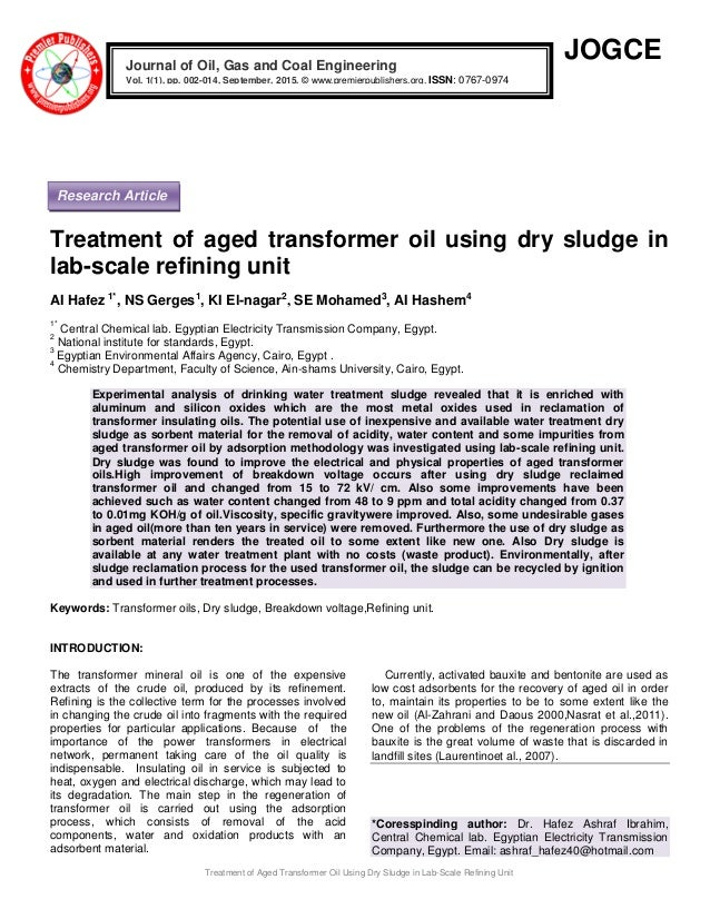 Treatment of Aged Transformer Oil Using Dry Sludge in Lab-Scale Refining Unit JOGCE Treatment of aged transformer oil usin...
