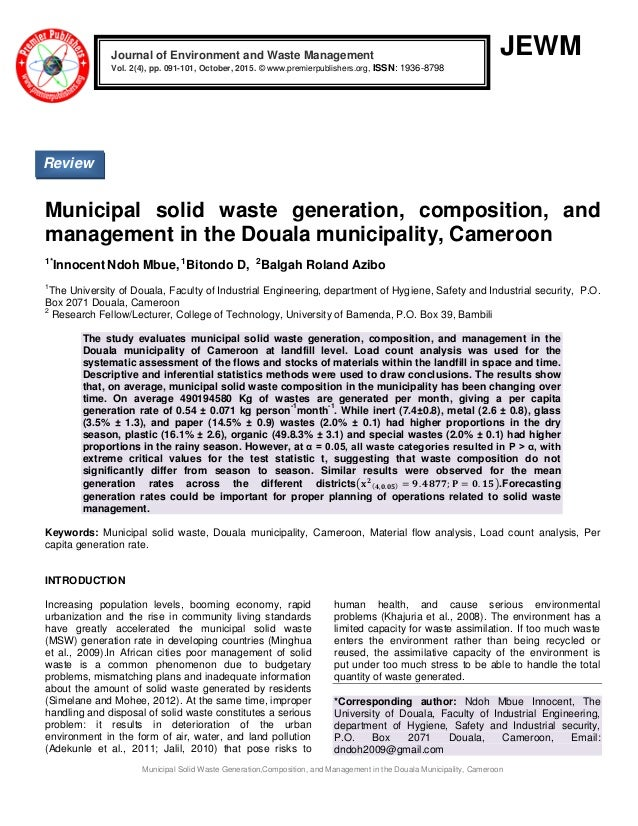 Waste generation and management pdf
