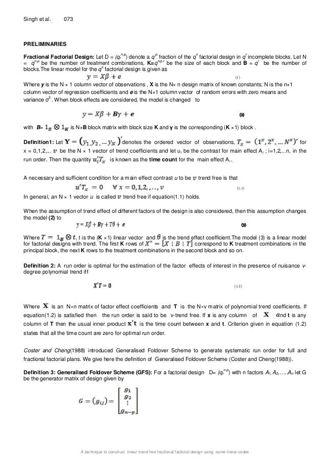 A technique to construct linear trend free fractional factorial desi…