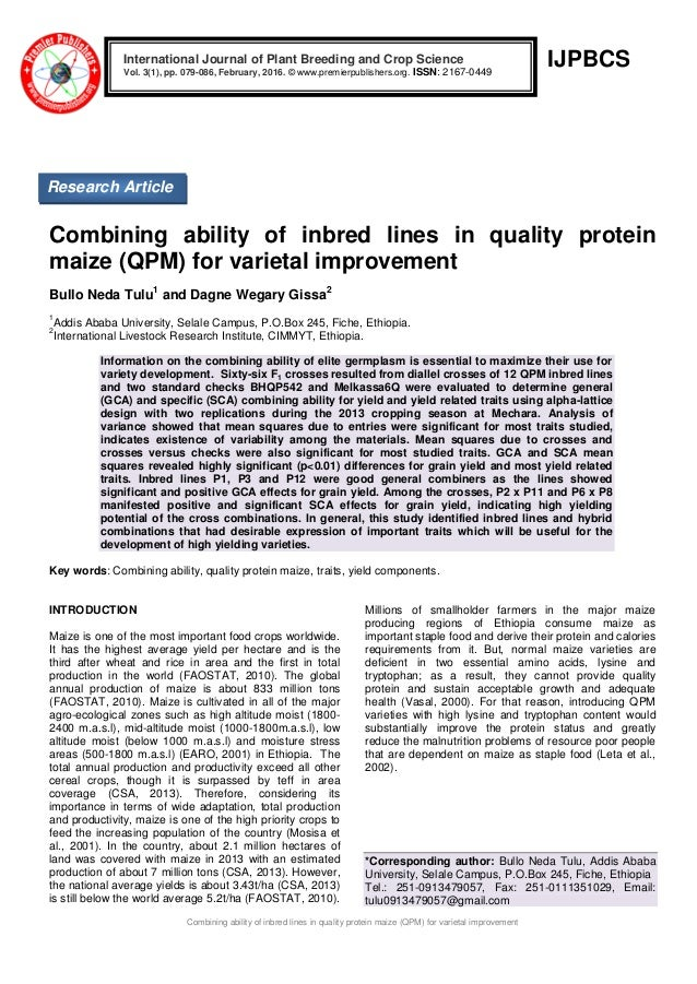 Combining ability of inbred lines in quality protein maize (QPM) for …
