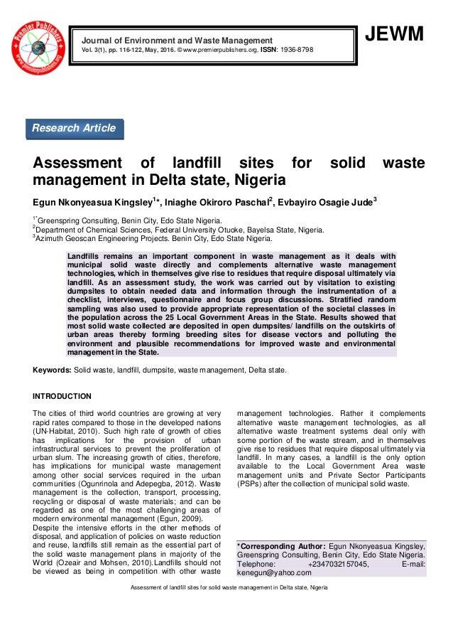 Assessment of landfill sites for solid waste management in Delta stat…
