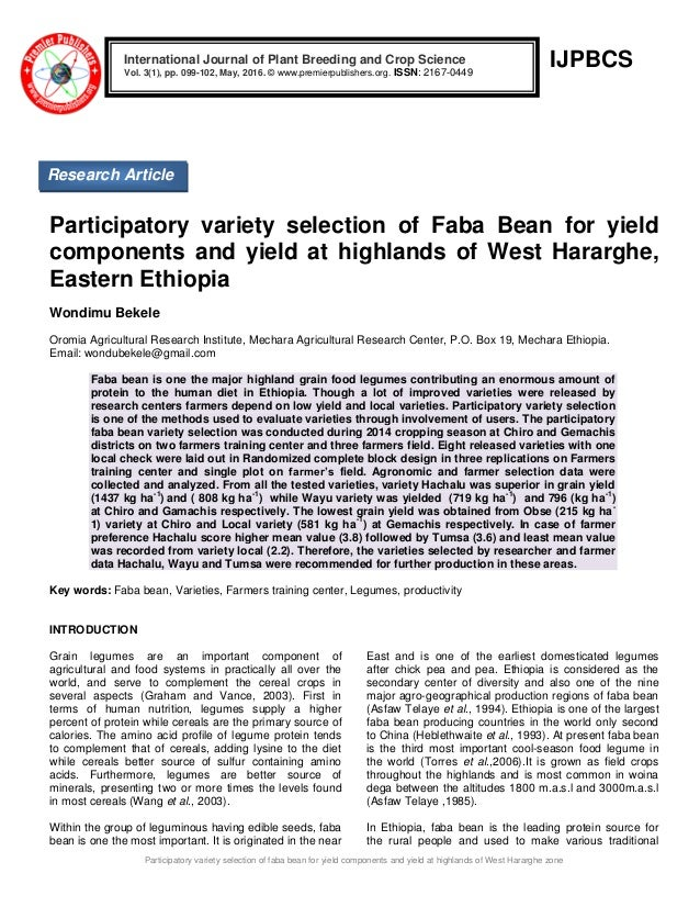 Participatory Variety Selection Of Faba Bean For Yield Components And