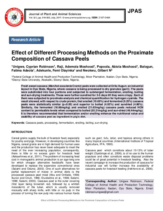 Effect of Different Processing Methods on the Proximate