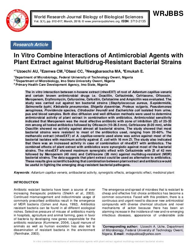 In Vitro Combine Interactions of Antimicrobial Agents with