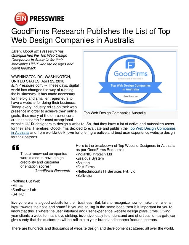 GoodFirms Research Publishes the List of Top Web Design Companies in …