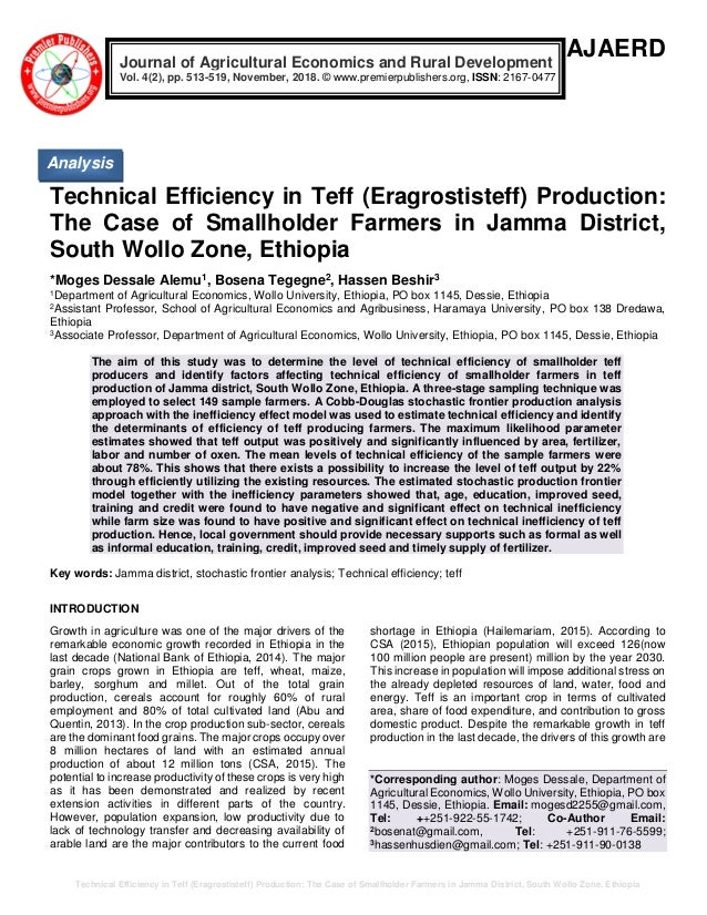 Technical Efficiency in Teff (Eragrostis teff) Production: The Case o…