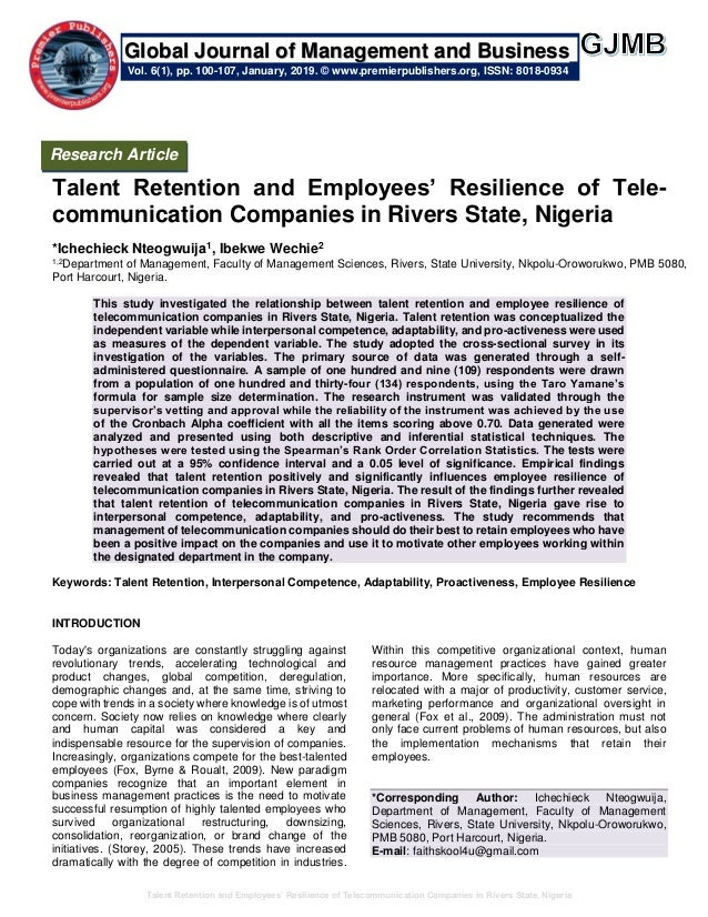 Talent Retention and Employees' Resilience of