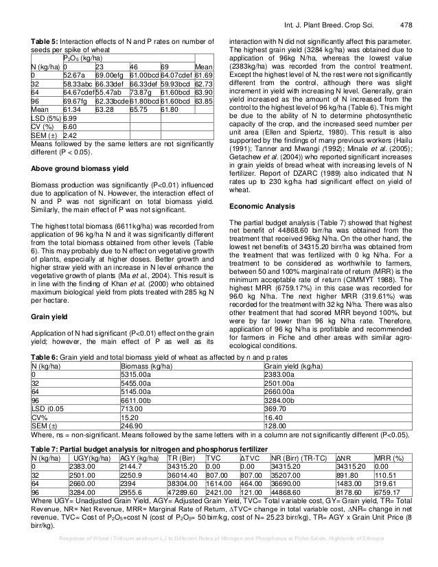 Response of Wheat (Triticum aestivum L ) to Different Rates of Nitrog…