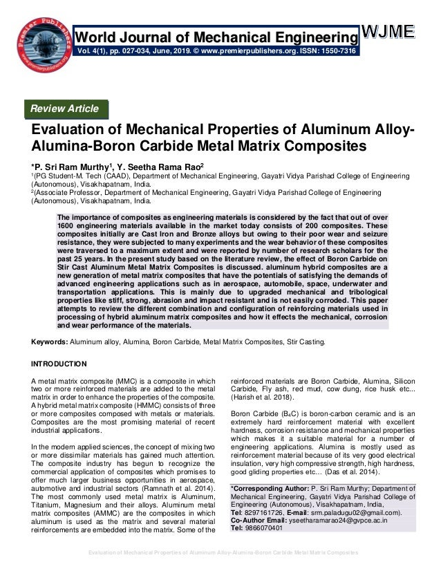Evaluation of Mechanical Properties of Aluminum Alloy