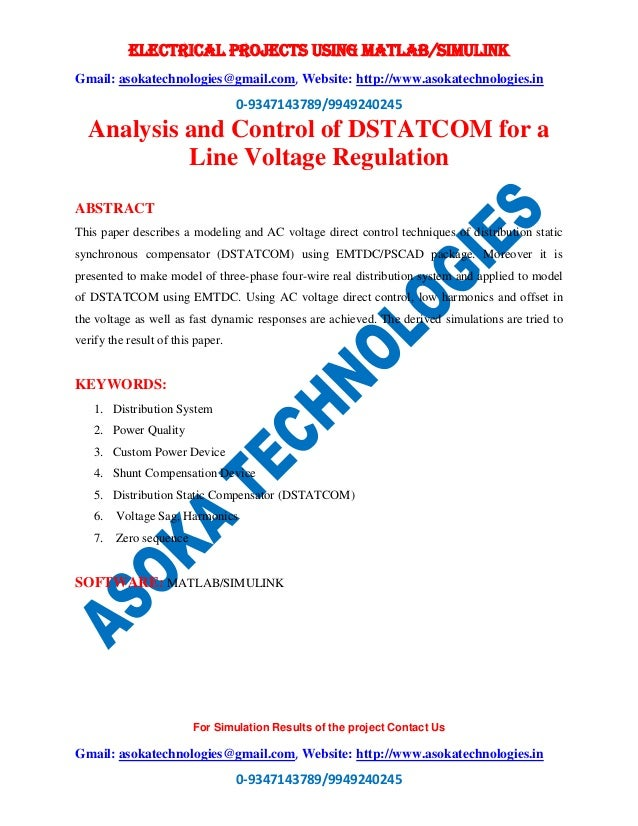 Analysis and Control of DSTATCOM for a Line Voltage Regulation