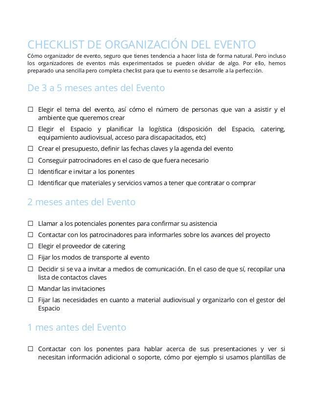 Checklist para la perfecta organización de Eventos
