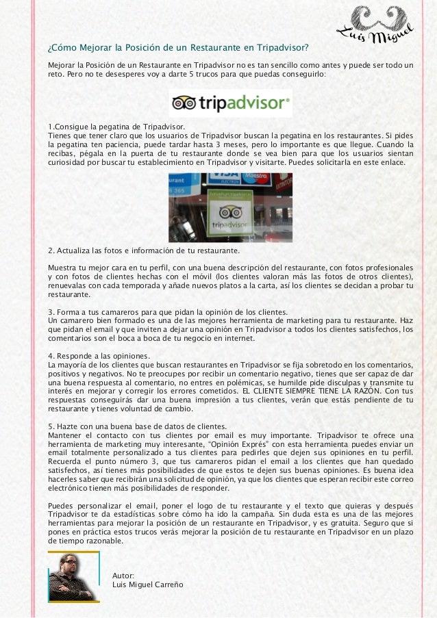 Cómo Mejorar la Posición de un Restaurante en Tripadvisor?