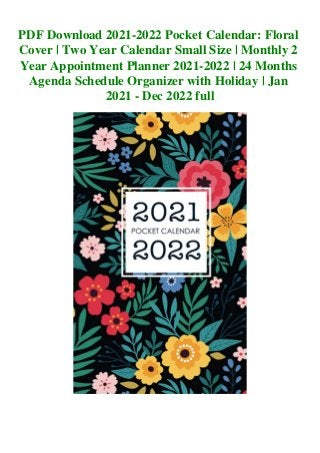 2022 Small Calendar.Pdf Download 2021 2022 Pocket Calendar Floral Cover Two Year Calenda