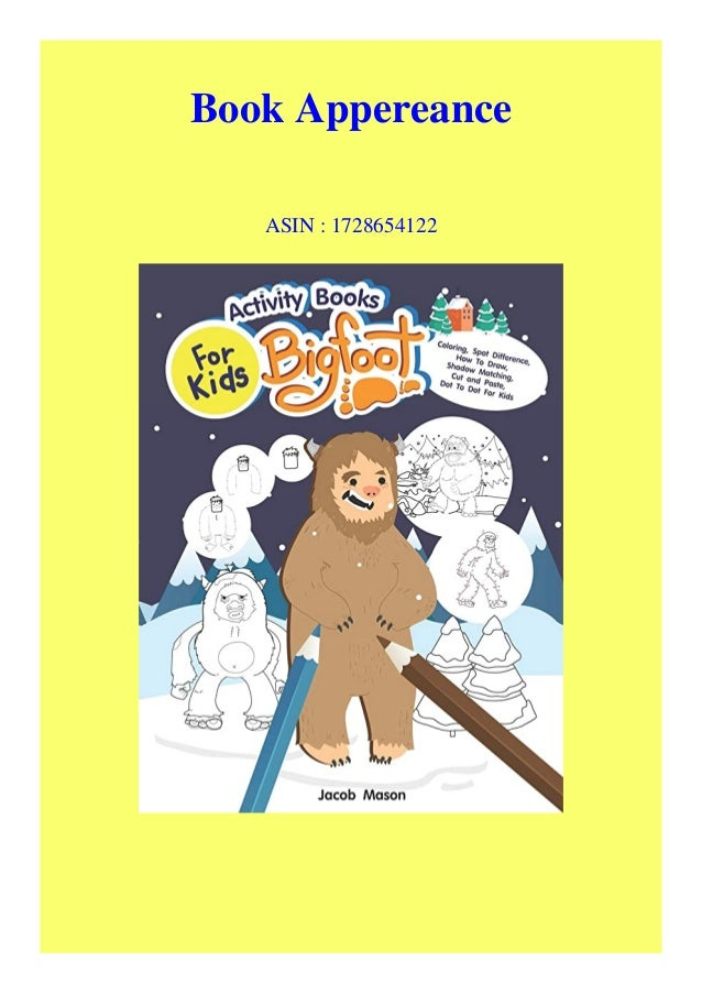 Pdf Download Activity Books For Kids Bigfoot Coloring Spot Differenc