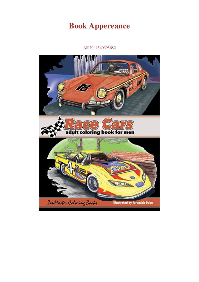 PDF #Download Race Cars Adult Coloring Book For Men Men's Coloring B…