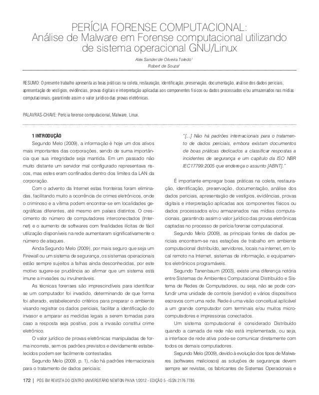 PERÍCIA FORENSE COMPUTACIONAL: Análise de Malware em Forense computacional utilizando de sistema operacional GNU/Linux Ale...