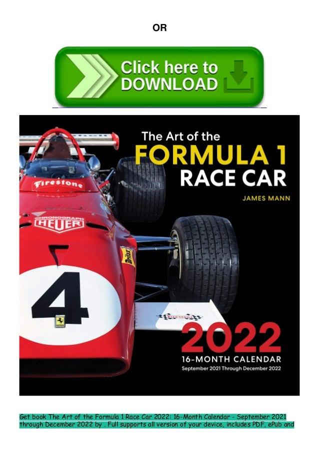 F1 2022 Calendar Download.Pdf Ebook The Art Of The Formula 1 Race Car 2022 16 Month