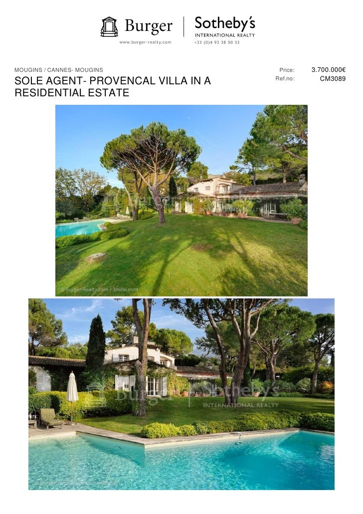 MOUGINS / CANNES- MOUGINS           Price:   3.700.000€                                   Ref.no:      CM3089SOLE AGENT- P...