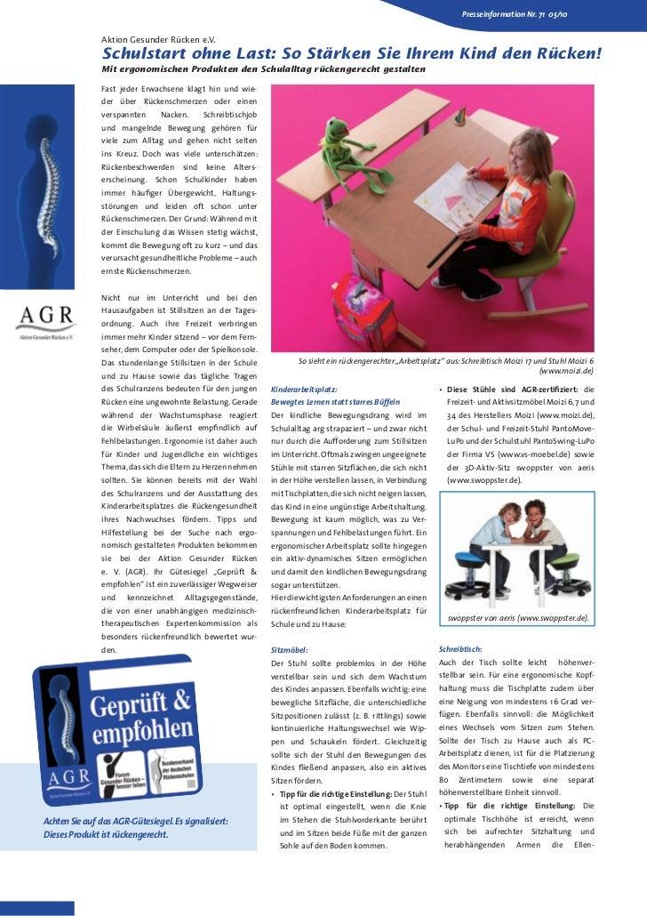 Presseinformation Nr. 71 05/10                Aktion Gesunder Rücken e.V.                Schulstart ohne Last: So Stärken ...