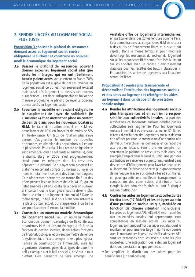 Le propositions de fran ois fillon sur le logement - Plafond de ressources logement social ...