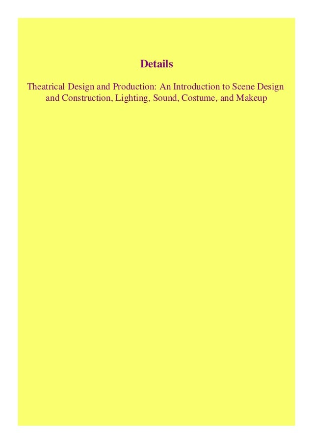 Pdf Theatrical Design And Production An Introduction To Scene Design
