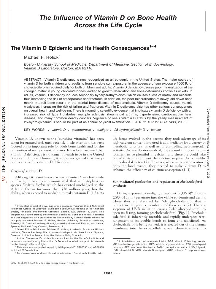 The Influence of Vitamin D on Bone Health                                    Across the Life Cycle   The Vitamin D Epidemic...
