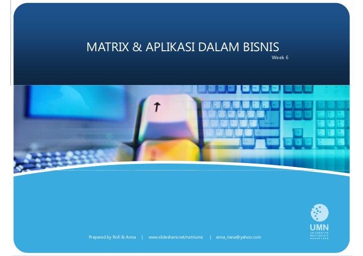 MATRIX  APLIKASI DALAM BISNIS                                                                                        Week ...