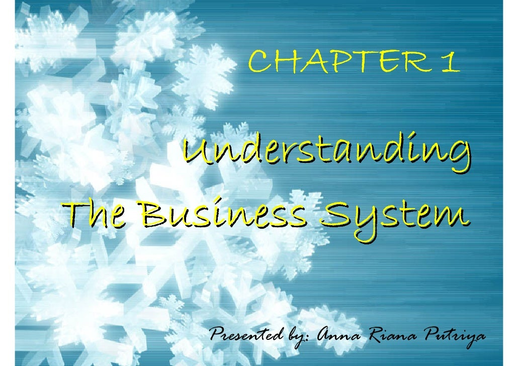 CHAPTER 1        Understanding The Business System        Presented by: Anna Riana Putriya