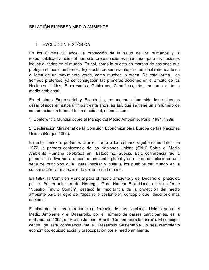 RELACIÓN EMPRESA-MEDIO AMBIENTE       1. EVOLUCIÓN HISTÓRICA  En los últimos 30 años, la protección de la salud de los hum...
