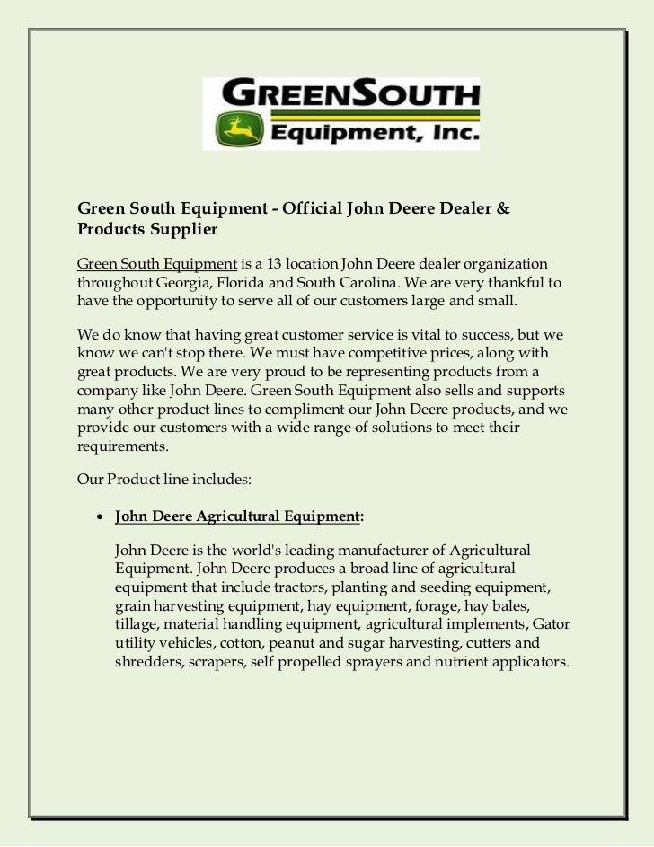 Green South Equipment - Official John Deere Dealer &Products SupplierGreen South Equipment is a 13 location John Deere dea...
