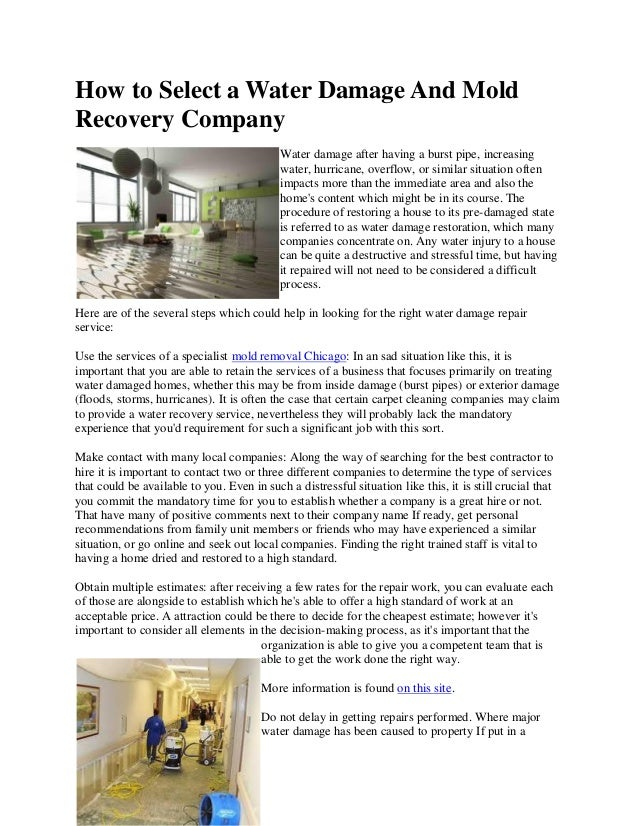 How to Select a Water Damage And MoldRecovery Company                                            Water damage after having...