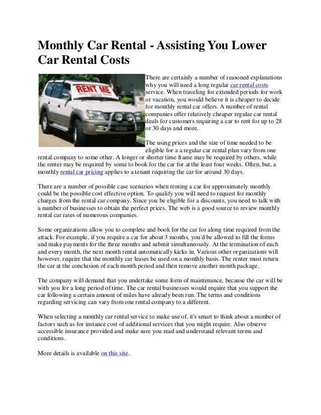 Monthly Rental Car >> Monthly Car Rental Assisting You Lower Car Rental Costs