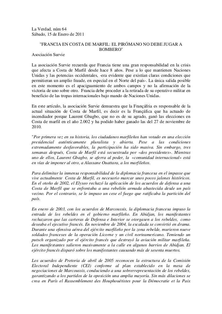 """La Verdad, núm 64Sábado, 15 de Enero de 2011   """"FRANCIA EN COSTA DE MARFIL: EL PIRÓMANO NO DEBE JUGAR A                   ..."""