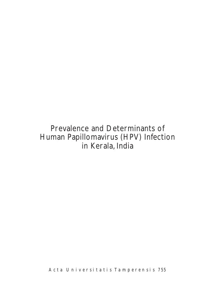 Prevalence and Determinants of Human Papillomavirus (HPV) Infection           in Kerala, India       A c t a U n i v e r s...