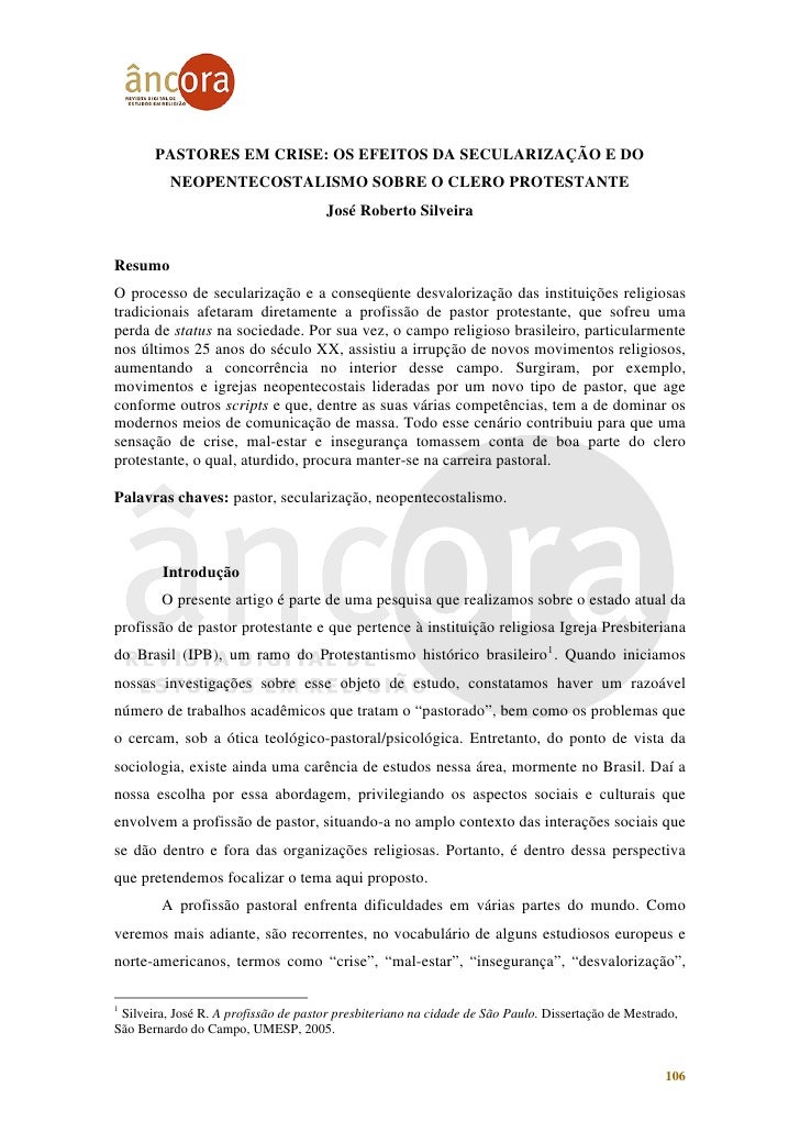 PASTORES EM CRISE: OS EFEITOS DA SECULARIZAÇÃO E DO          NEOPENTECOSTALISMO SOBRE O CLERO PROTESTANTE                 ...