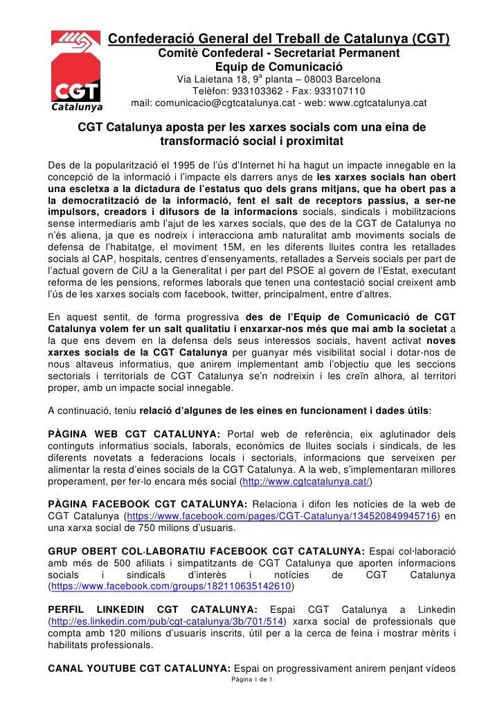 Confederació General del Treball de Catalunya (CGT)                        Comitè Confederal - Secretariat Permanent      ...